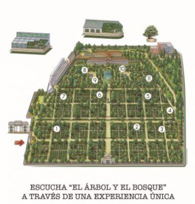 Imagen de plano de localizaciones donde se podrán escuchar las canciones de El árbol y el bosque, nuevo álbum de Rozalén, en el Jardín Botánico de Madrid el 29 de octubre de 2020
