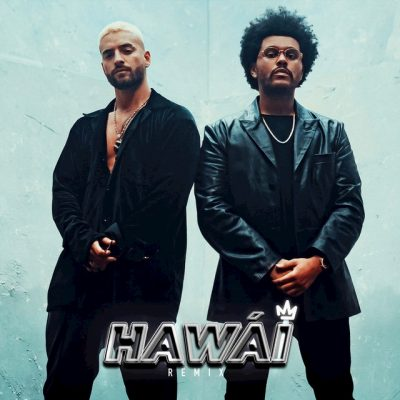 Imagen de la portada del single Hawai Remix con los artistas Maluma y The Weeknd