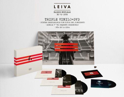 Imagen del contenido de la edición triple vinilo+dvd del álbum en directo Madrid Nuclear del artista español de rock Leiva