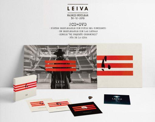 Imagen del contenido del doble CD+DVD del álbum en directo Madrid Nuclear del artista español de rock Leiva