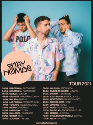 Imagen del trío español Stay Homas con las fechas de su gira mundial 2021