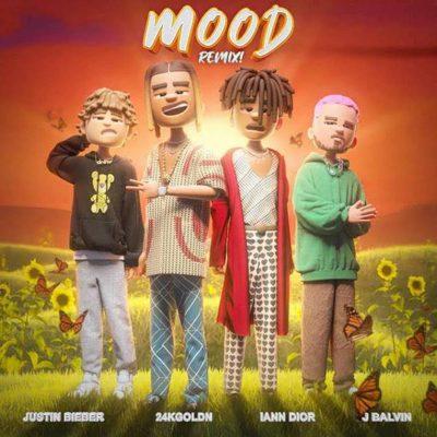 "Imagen de la portada del remix del single ""Mood"" de 24xGoldn con Iann Dior, Justin Bieber y J Balvin"