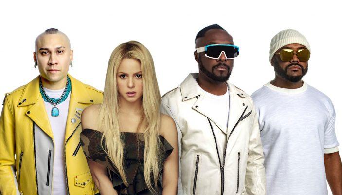 """Imagen de los artistas Black Eyed Peas y Shakira, que juntos interpretan """"Girl Like Me"""" incluido en el álbum Translation de Black Eyed Peas."""