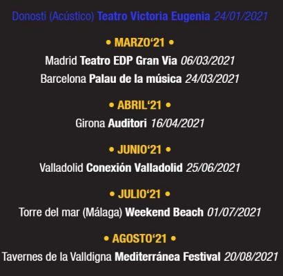 Imagen con la lista de conciertos del dúo español Arnau Griso para 2021