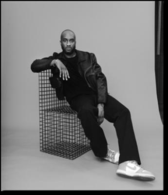 Imagen en blanco y negro del artista multidisciplinar Virgil Abloh