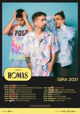Imagen de las fechas de la gira internacional 2021 de Stay Homas