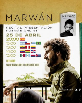 Cartel del recital de la presentación del libro Una mujer en la garganta de Marwan