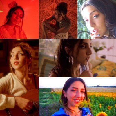 Imagen de la artista Lucía Fernanda en varios videoclips