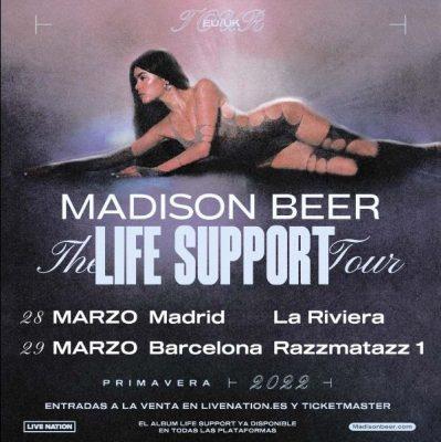 Cartel de la gira Life Support de Madison Beer