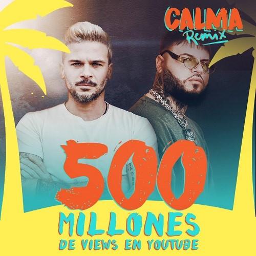 """""""Calma (Remix)"""" de PEDRO CAPÓ Y FARRUKO sobrepasa los 500 millones de vistas y nuevamente es la canción y video #1 de YouTube en el mundo esta semana"""