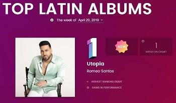 """ROMEO SANTOS obtiene su quinto #1 consecutivo en el """"Top Latin Albums"""" de Billboard con su nuevo álbum UTOPIA"""