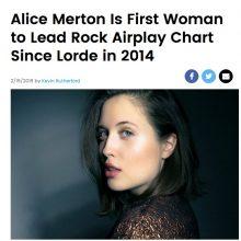 ALICE MERTON pierwszą kobietą na szczycie amerykańskiej listy Rock Airplay Chart od czasu Lorde w 2014 roku!