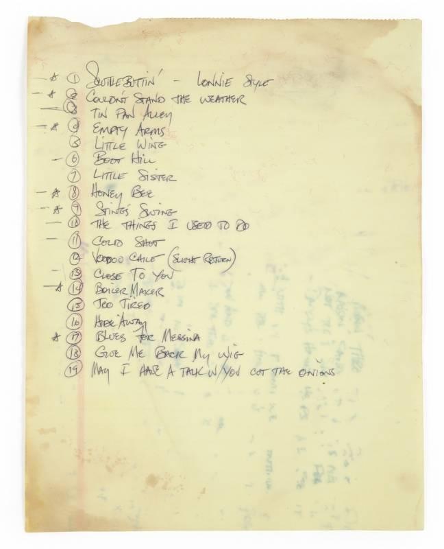 Stevie Ray Vaughan setlist