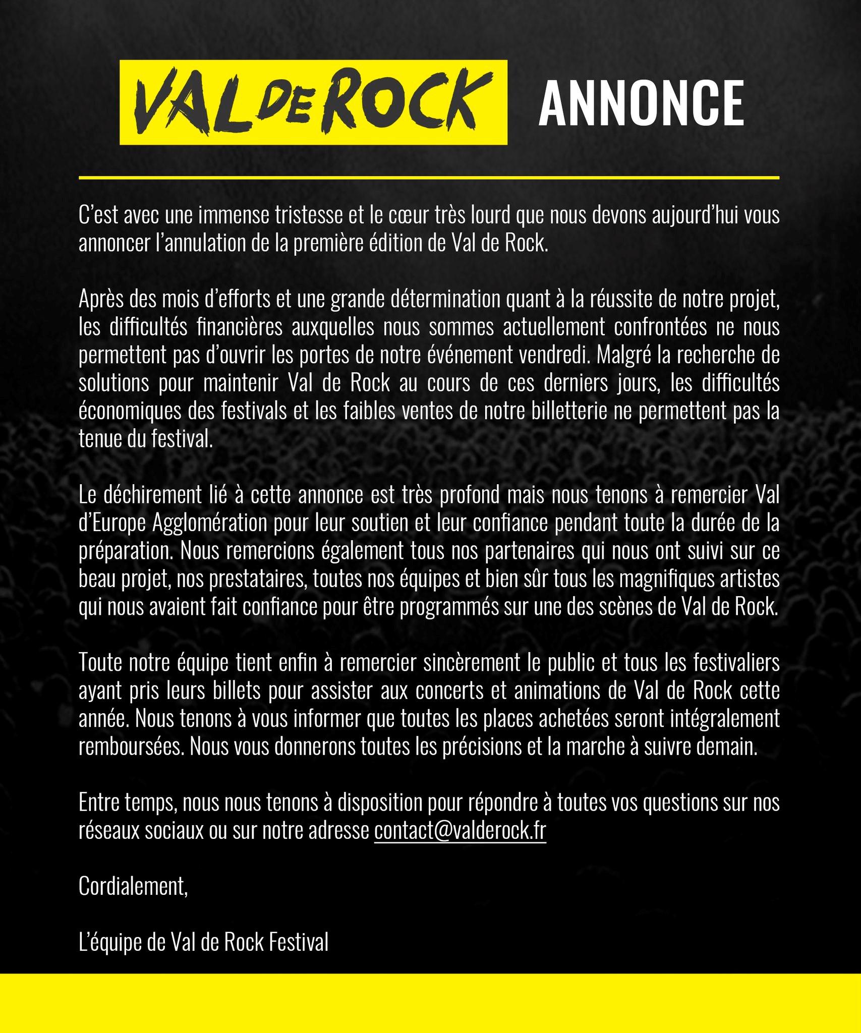 Festival Val de Rock annulé !