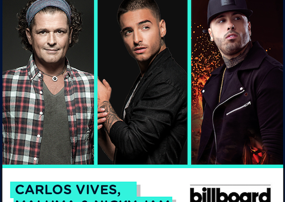 Carlos Vives, Maluma & Nicky Jam  Nominados a  Billboard Music Awards 2017