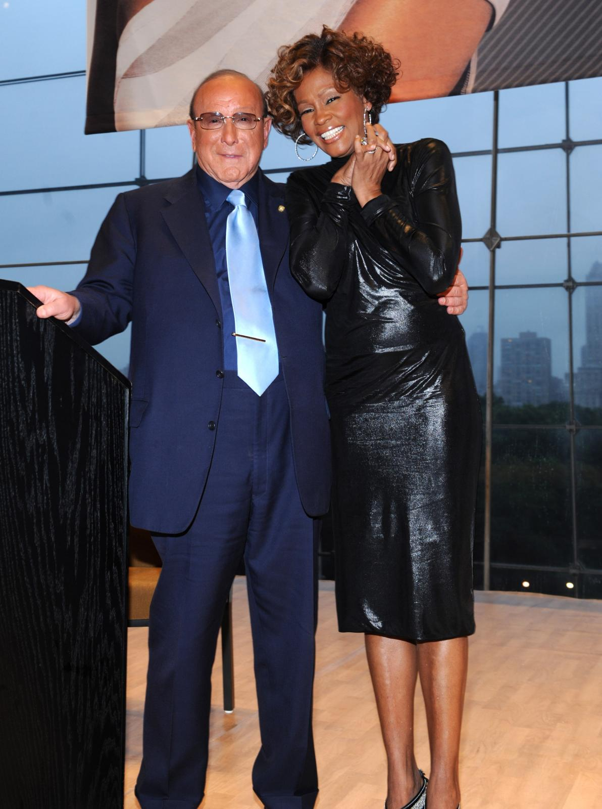Whitney Houston and Clive Davis at second listening party for album I Look To You at Allen Room at Lincoln Center in New York, NY July 21, 2009