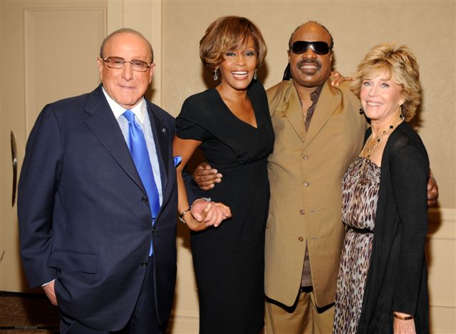 Whitney Houston, Clive Davis, Stevie Wonder and Jane Fonda at third listening party for album I Look To You in Los Angeles, CA July 23, 2009
