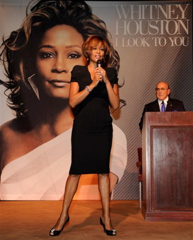 Whitney Houston and Clive Davis at third listening party for album I Look To You in Los Angeles, CA July 23, 2009