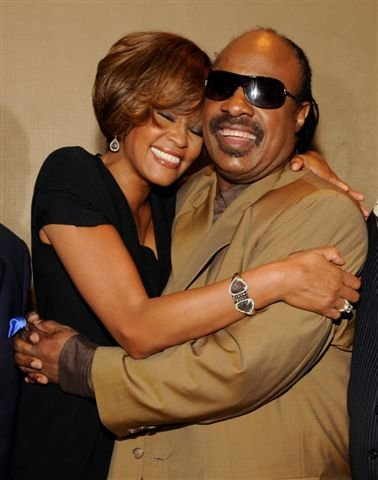 Whitney Houston and Stevie Wonder at third listening party for album I Look To You in Los Angeles, CA July 23, 2009