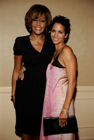 Whitney Houston and Halle Berry at third listening party for album I Look To You in Los Angeles, CA July 23, 2009