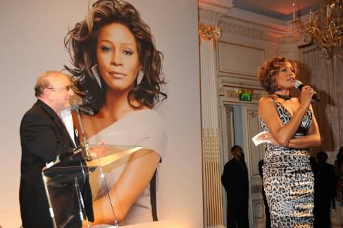 Whitney Houston and Clive Davis at I Look To You listening party in London 2009