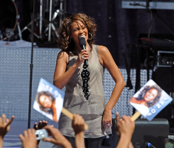 Whitney Houston performs on Good Morning America in September 2009