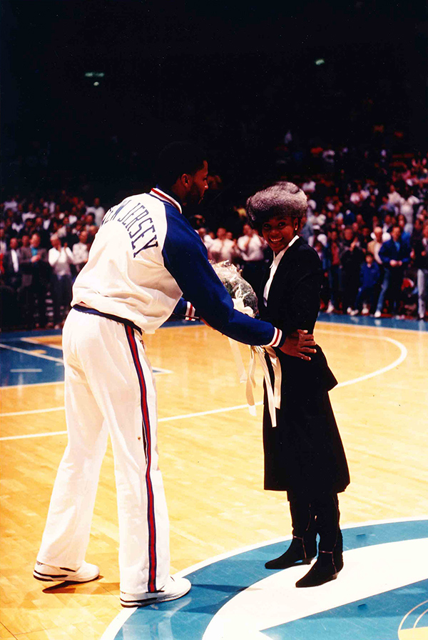 Whitney Houston at her national anthem performance at Nets-Lakers basketball game in New Jersey 1988