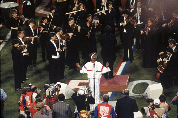 Whitney Houston sings The Star Spangled Banner at Super Bowl XXV in 1991