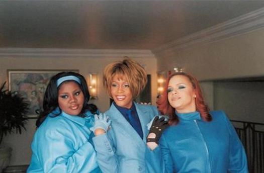 Whitney Houston with Kelly Price and Faith Evans on the set of the Heartbreak Hotel music video