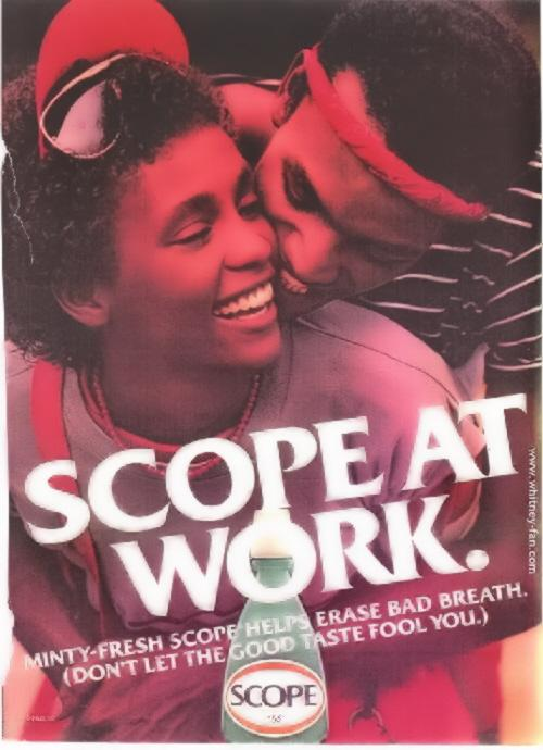 Whitney Houston models for Scope in early 1980s