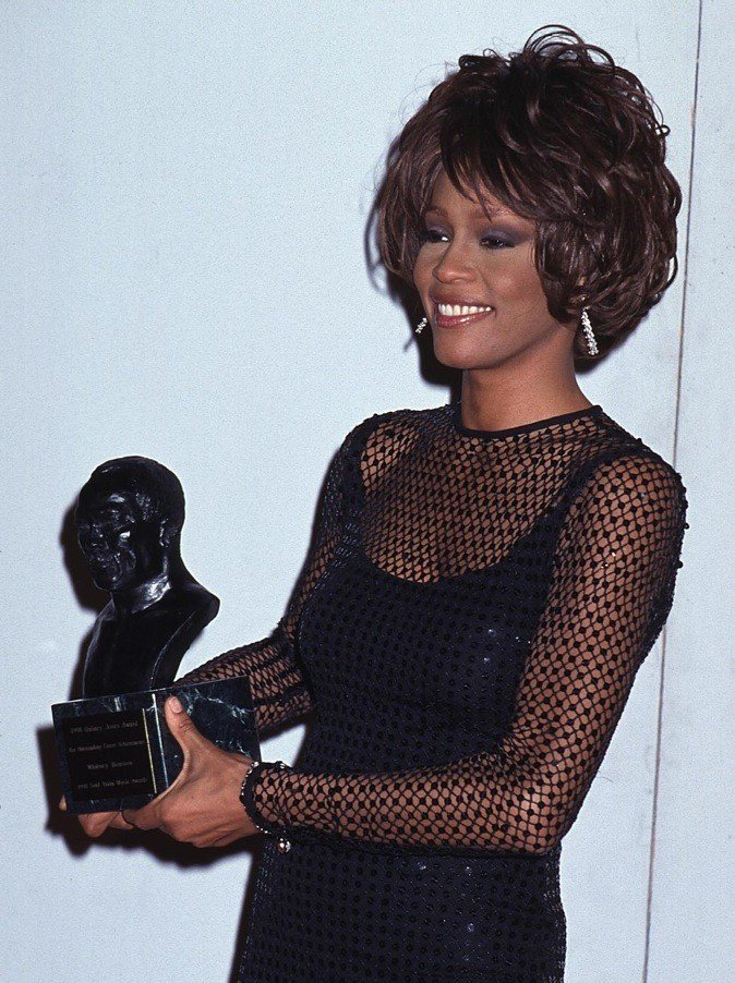 Whitney Houston honored with the Quincy Jones Award for Outstanding Career Achievement at the 1998 Soul Train Music Awards