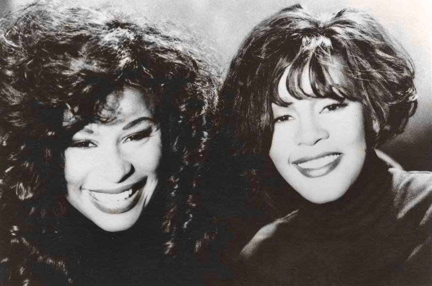 Whitney Houston and Chaka Khan of the set of Whitney Houston's I'm Every Woman music video