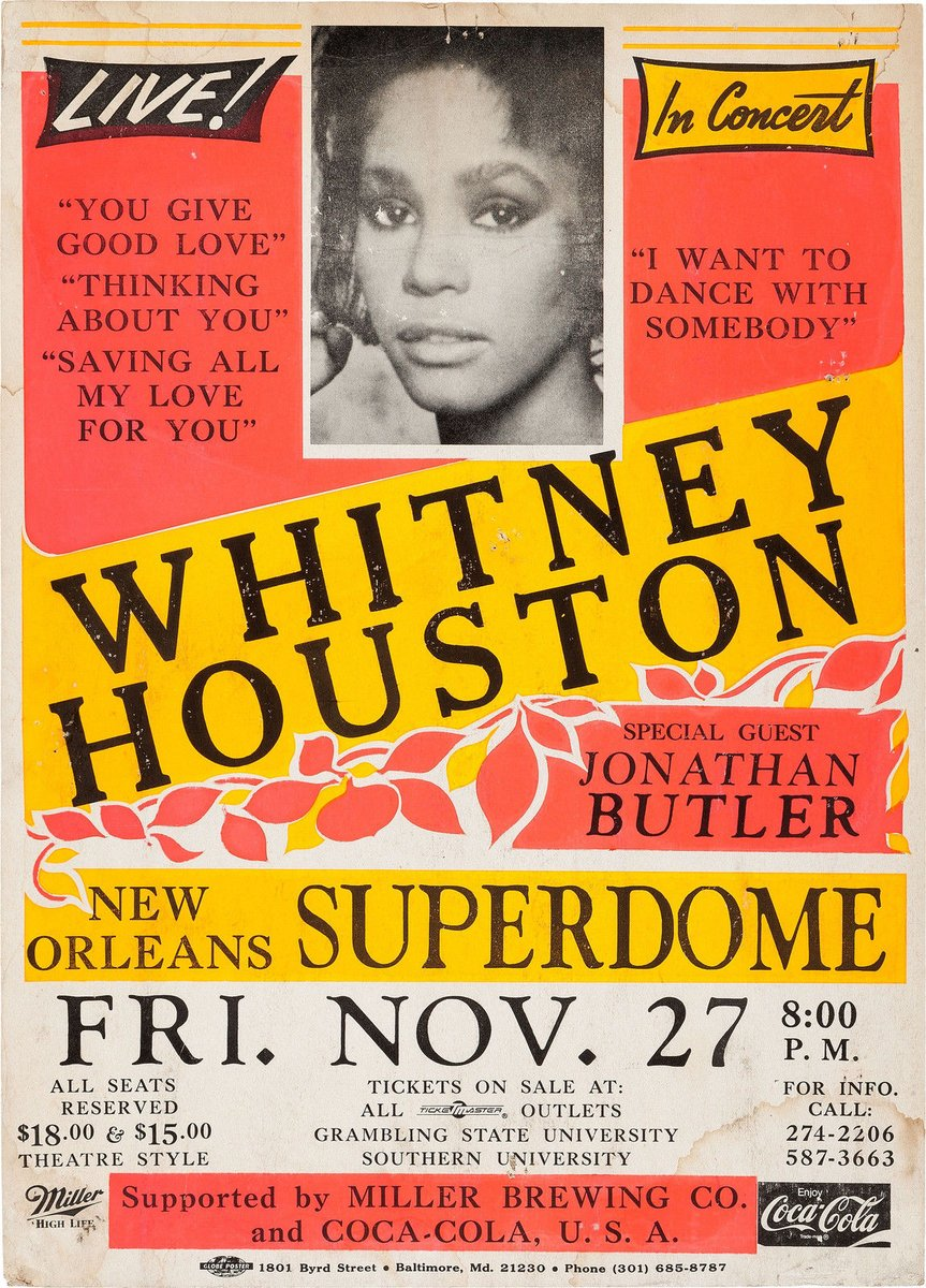 Whitney Houston concert poster New Orleans Superdome November 27, 1987