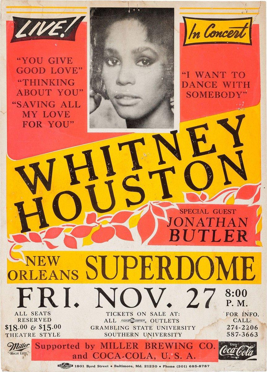 Whitney Houston concert poster New Orleans Superdome November 27, 1987