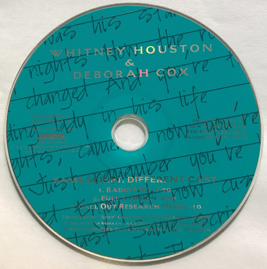 Whitney Houston and Deborah Cox - Same Script, Different Cast U.S. promo CD
