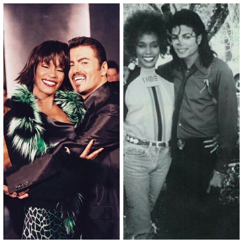 Whitney Houston with George Michael and Michael Jackson