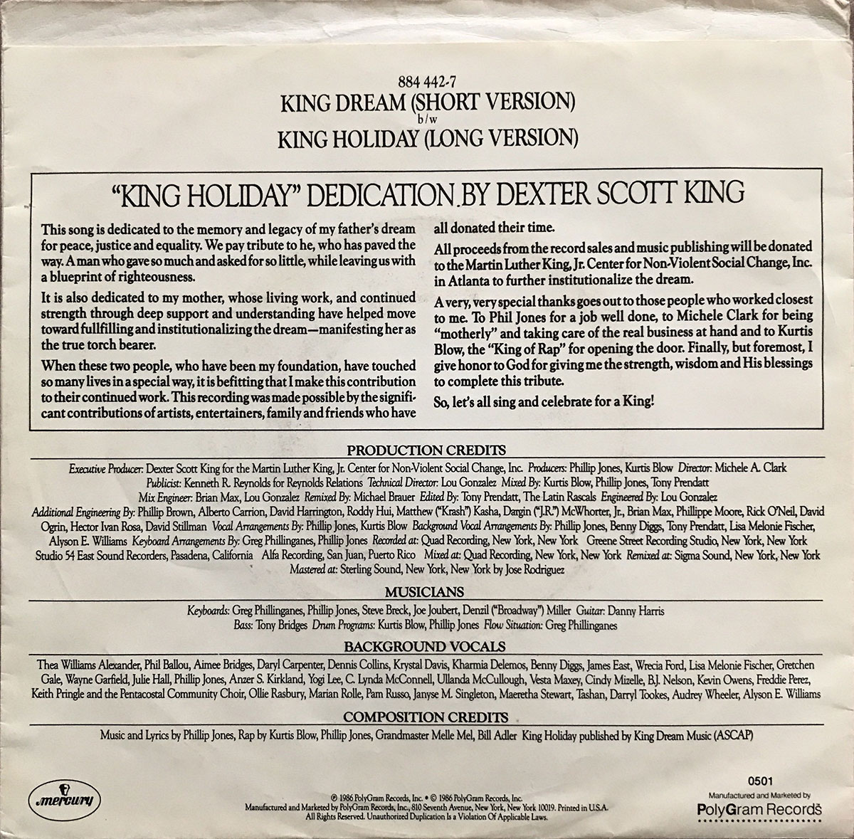 King Dream Chorus & Holiday Crew - King Holiday U.S. 7-inch vinyl single back cover