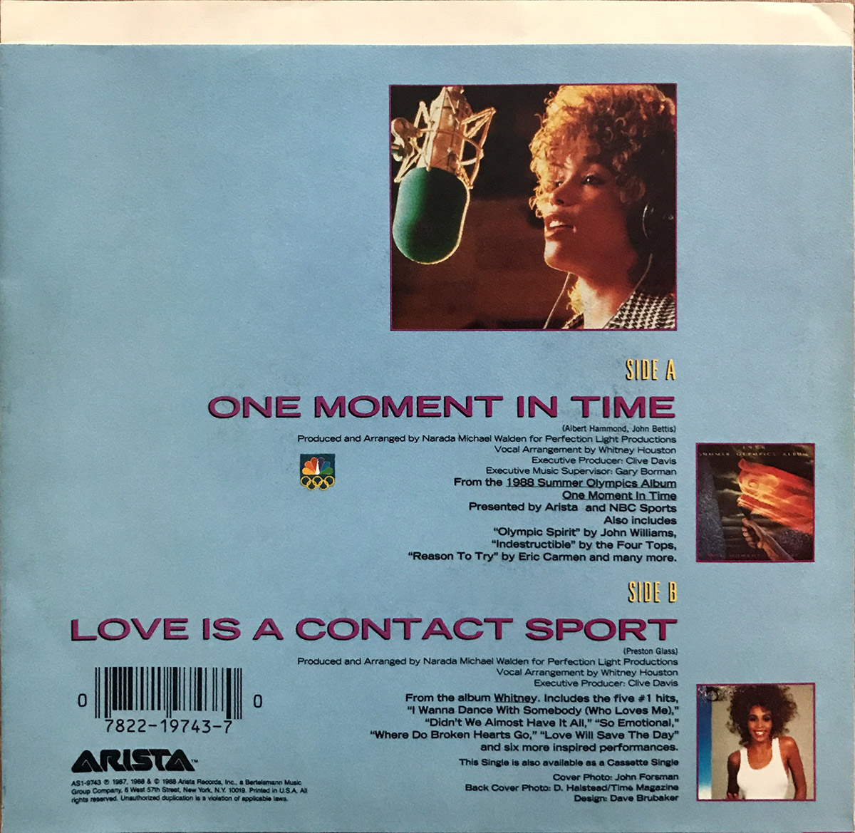 Whitney Houston - One Moment In Time U.S. 7-inch vinyl single back cover