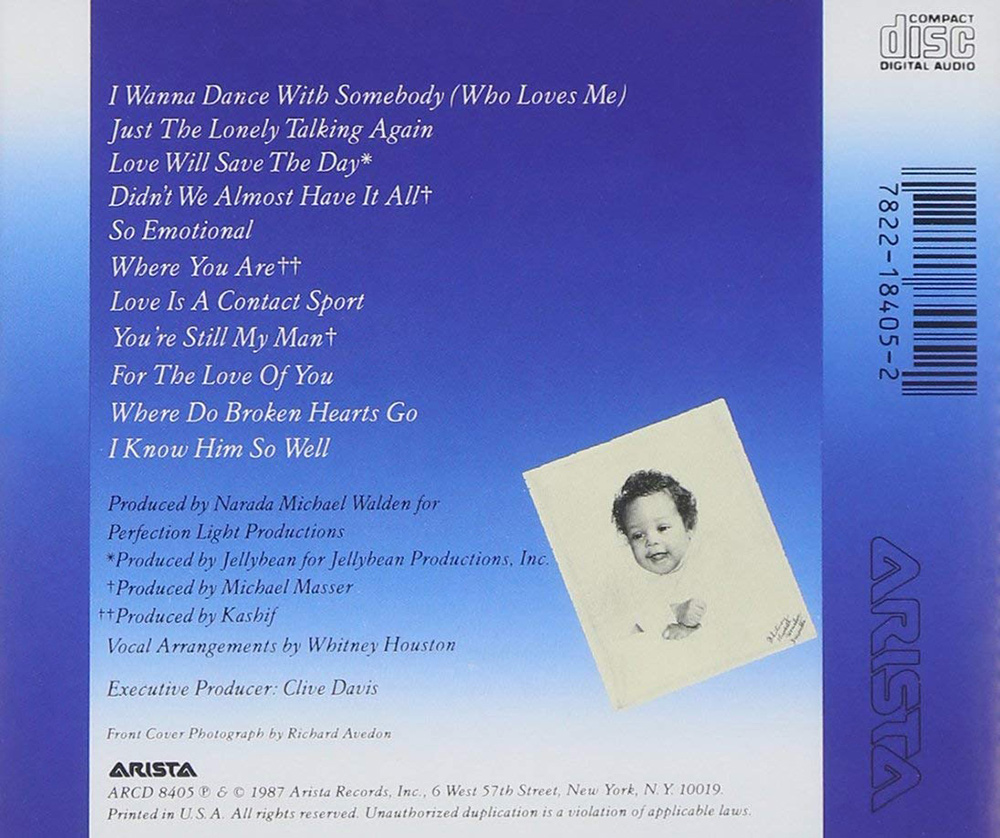 Whitney Houston - Whitney album CD back cover