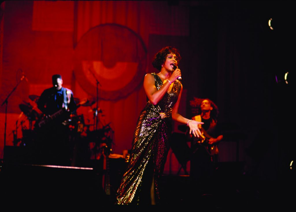 Whitney Houston performs in concert during The Bodyguard World Tour
