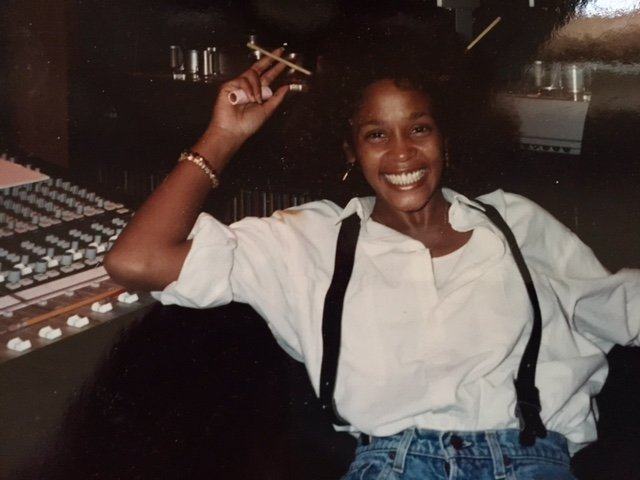 Whitney Houston in recording studio for her debut album