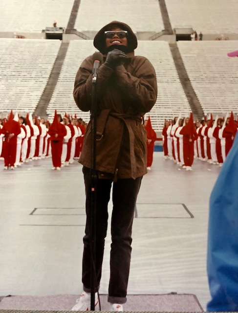 Whitney Houston rehearses The Star Spangled Banner for Super Bowl XXV in February 1991