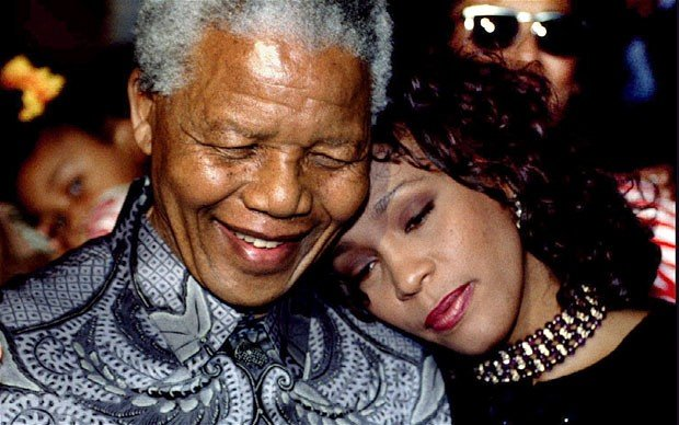 Nelson Mandela and Whitney Houston in Pretoria South Africa 1994