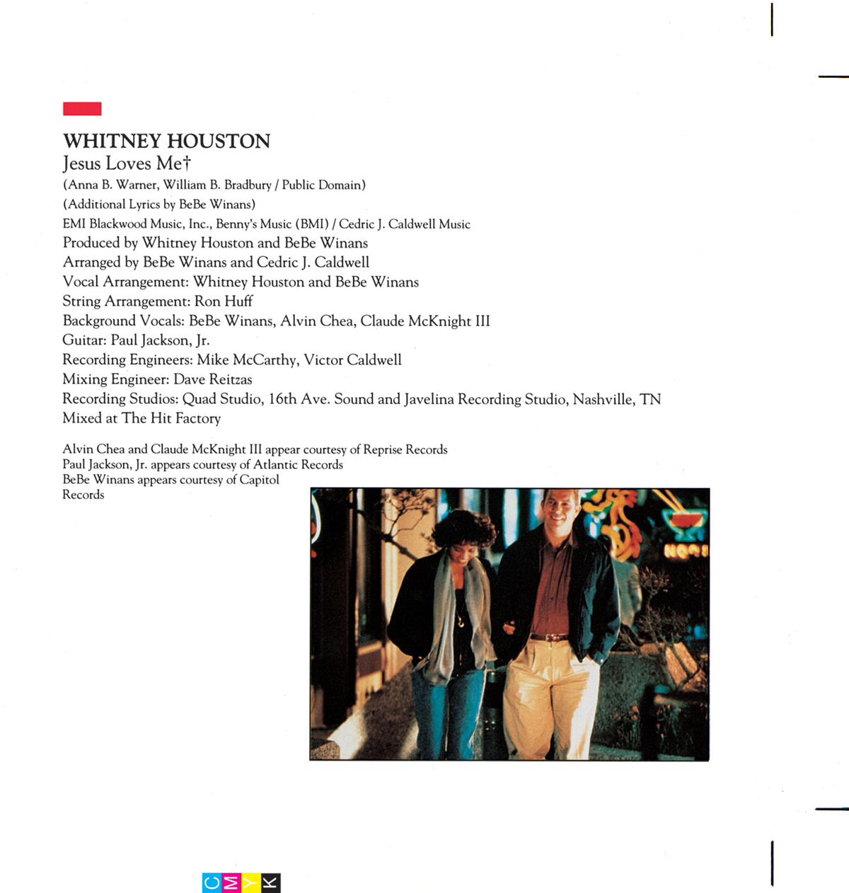 Whitney Houston - The Bodyguard soundtrack booklet page