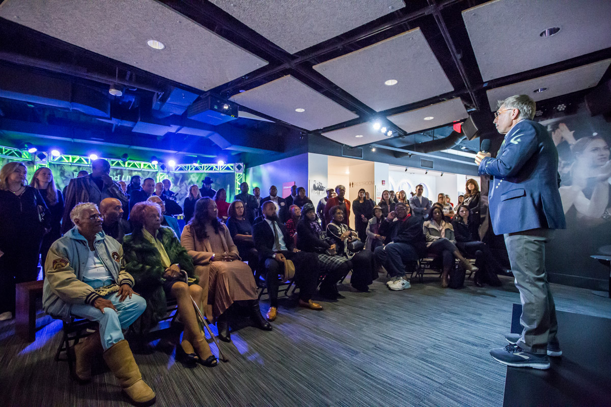Bob Santelli, Founding Executive Director of The Grammy Museum, addressing the crowd including members of Whitney's family at VIP reception October 18, 2018