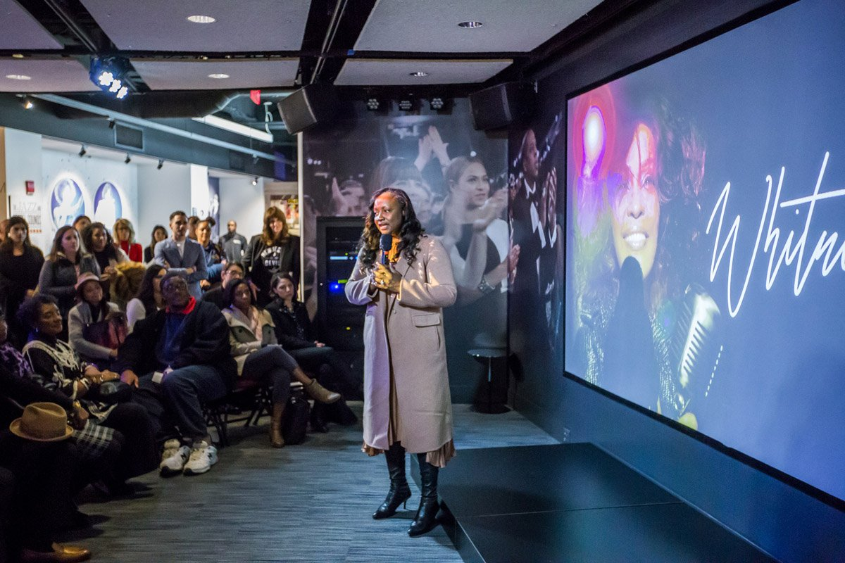 Pat Houston addressing the guests and welcoming them to Whitney GRAMMY Museum exhibit at VIP reception October 18, 2018