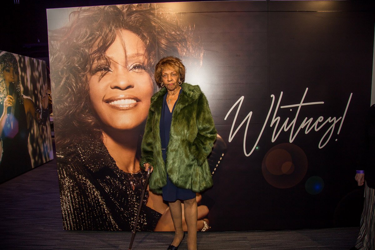 Cissy Houston at entrance to Whitney GRAMMY Museum exhibit at VIP reception October 18, 2018