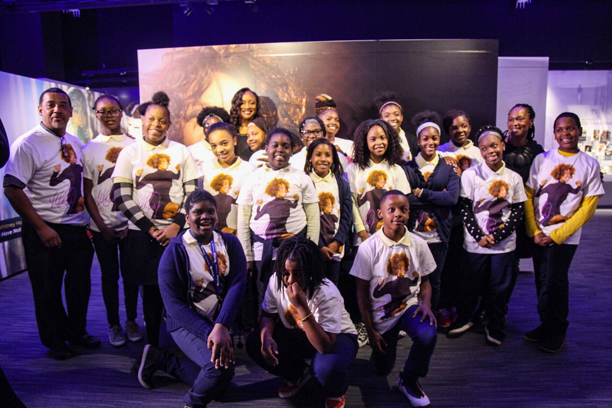 Pat Houston, Executor of The Estate of Whitney E. Houston, Donna Houston, and students from the Whitney E. Houston Academy visit Whitney Houston exhibit at Grammy Museum in Newark, NJ October 17, 2018