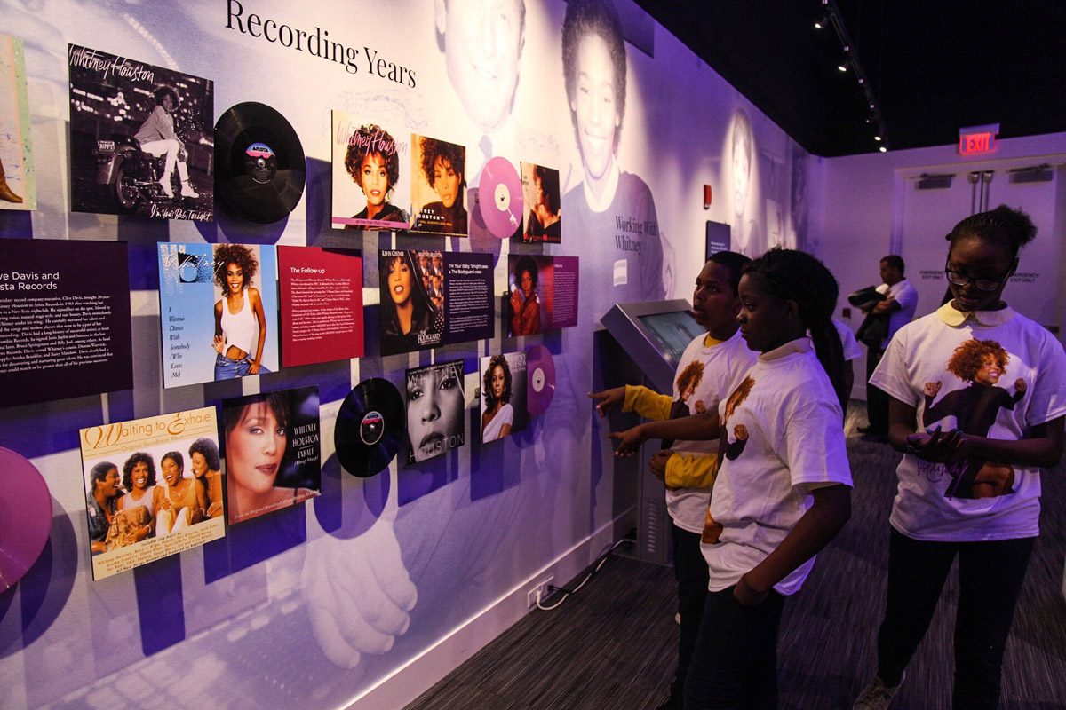 Students from the Whitney E. Houston Academy visit Whitney Houston exhibit at Grammy Museum in Newark, NJ October 17, 2018