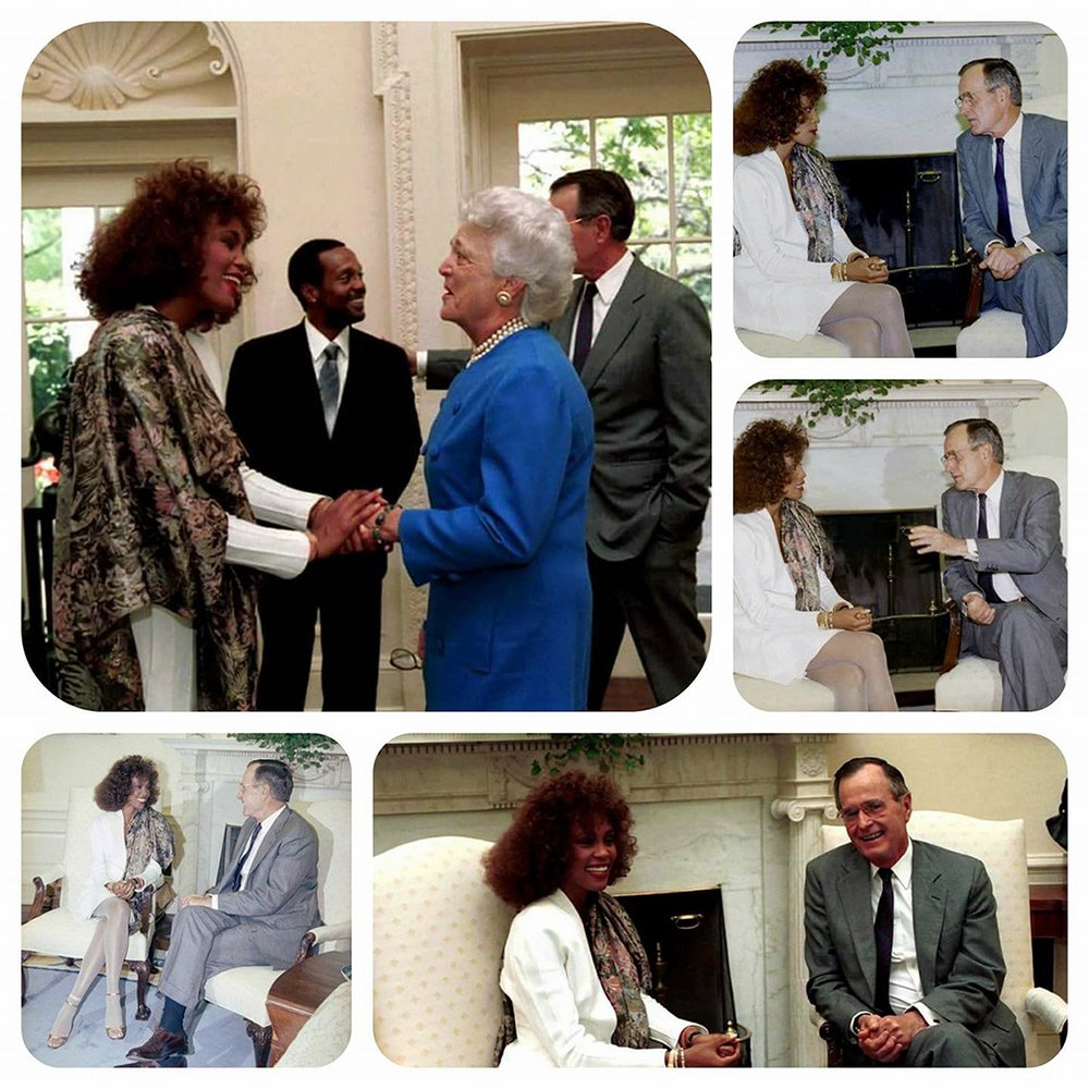 Whitney Houston and President George H.W. Bush and First Lady Barbara Bush
